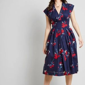 Modcloth Saunter Sweetly A-Line Midi Dress S